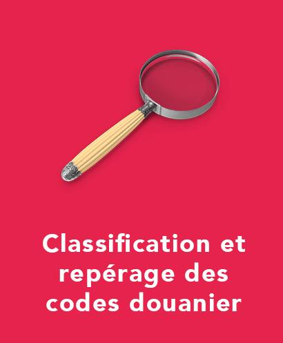 classification et répérage des codes douanier